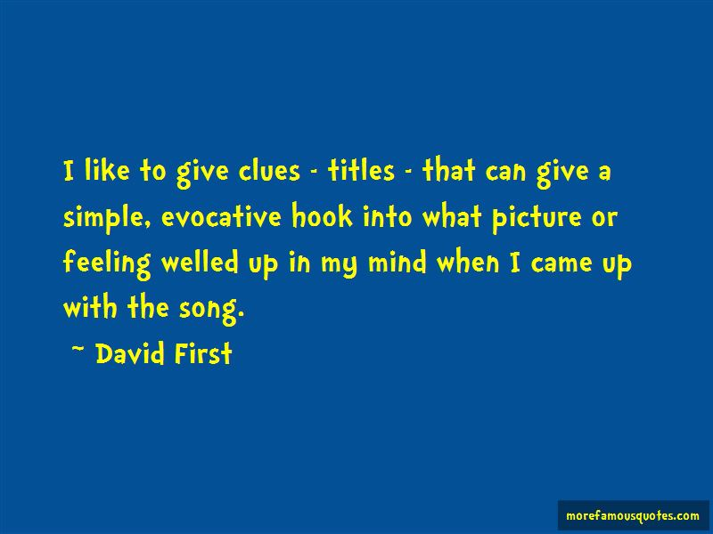 David First Quotes