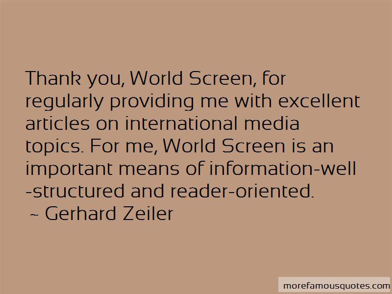Gerhard Zeiler Quotes