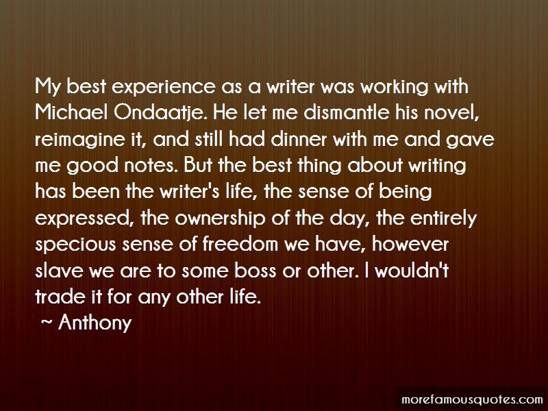 experience as a writer
