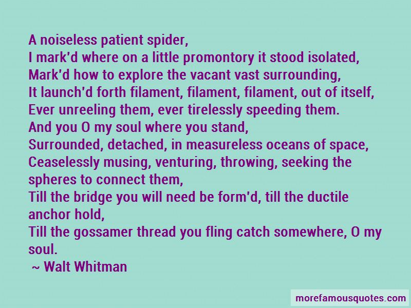 a noiseless patient spider a noiseless patient spider a noiseless patient spider, i mark'd where on a little promontory it stood isolated, mark'd how to explore the vacant vast surrounding, it launch'd forth filament, filament, filament, out of.