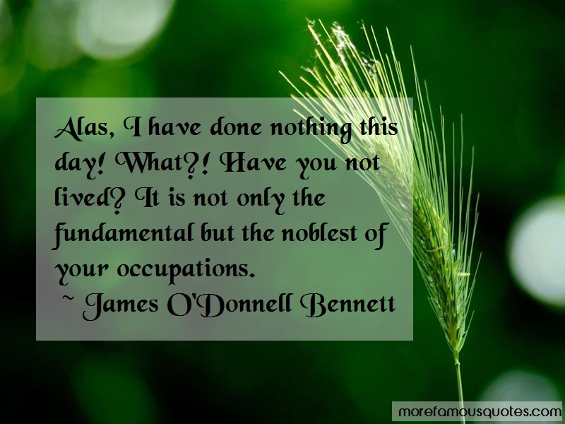 James O'Donnell Bennett Quotes: Alas I Have Done Nothing This Day What