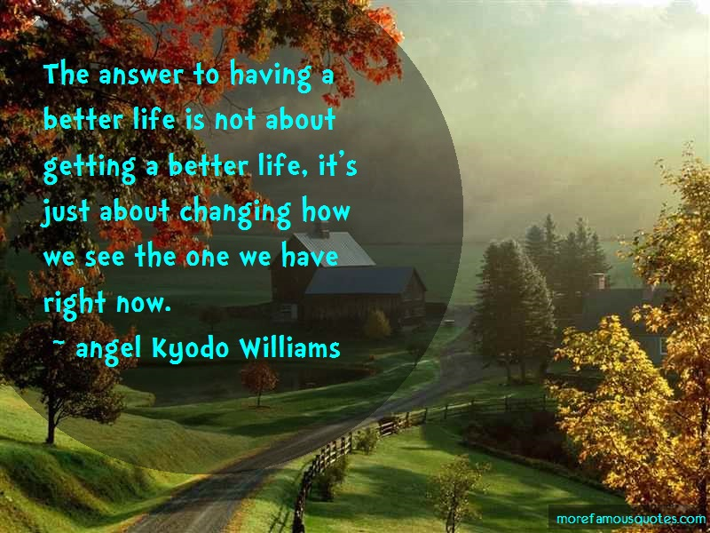 Angel Kyodo Williams Quotes: The Answer To Having A Better Life Is