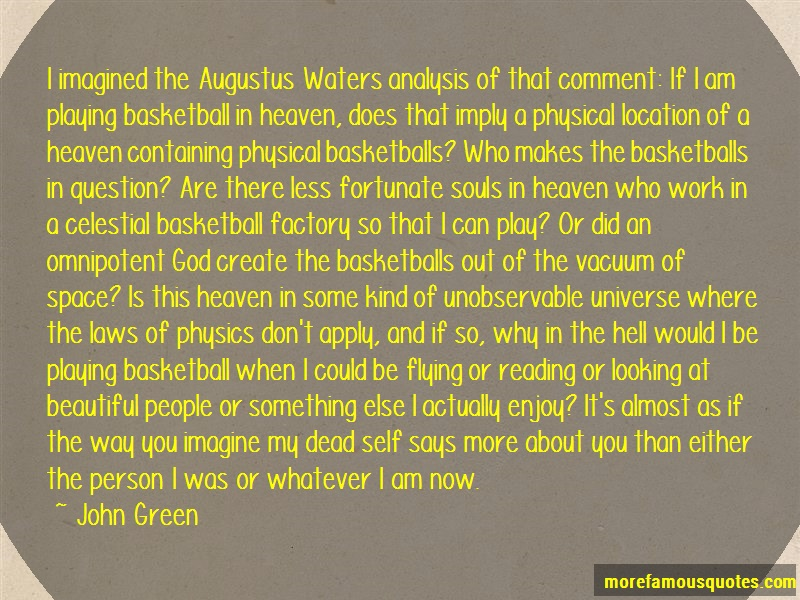 John Green Quotes: I imagined the augustus waters analysis