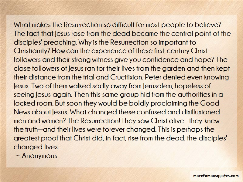 Anonymous. Quotes: What Makes The Resurrection So Difficult