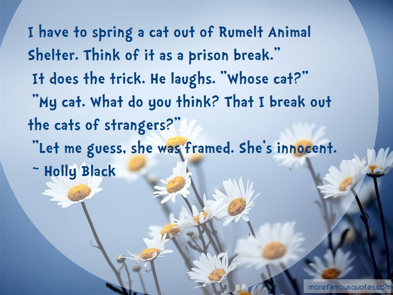 Holly Black Quotes: I have to spring a cat out of rumelt