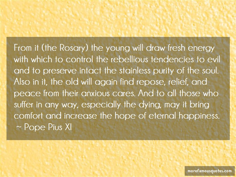 Pope Pius XI Quotes: From it the rosary the young will draw