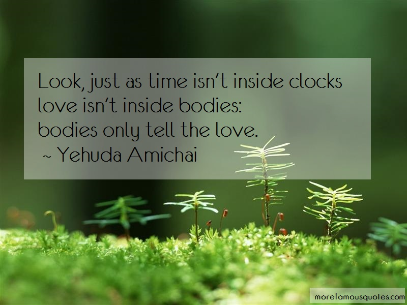 Yehuda Amichai Quotes: Look just as time isnt inside clockslove