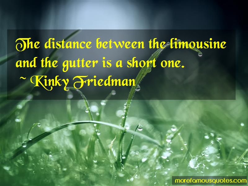 Kinky Friedman Quotes: The distance between the limousine and