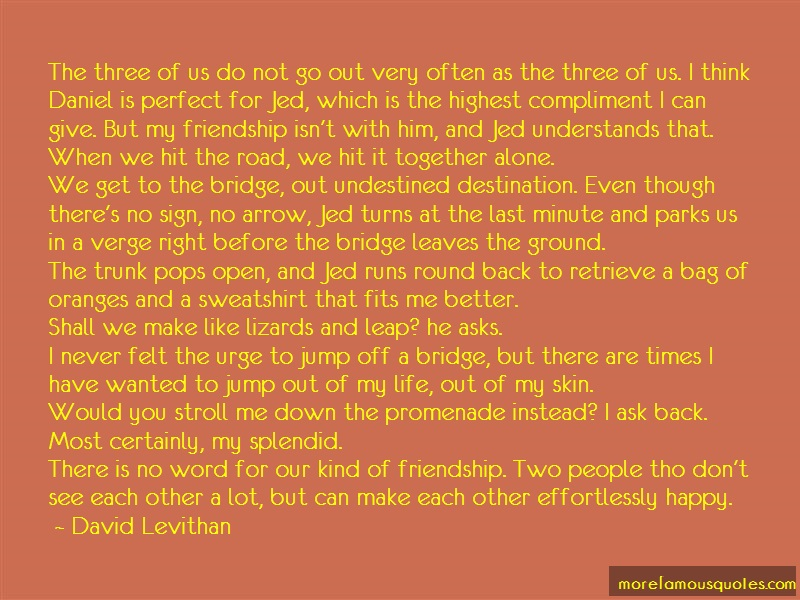 David Levithan Quotes: The three of us do not go out very often