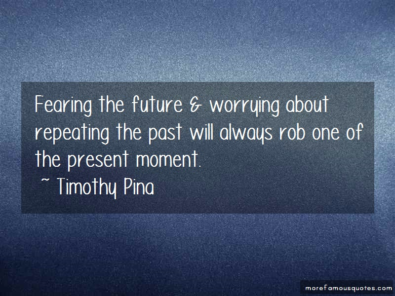 Timothy Pina Quotes: Fearing The Future Worrying About