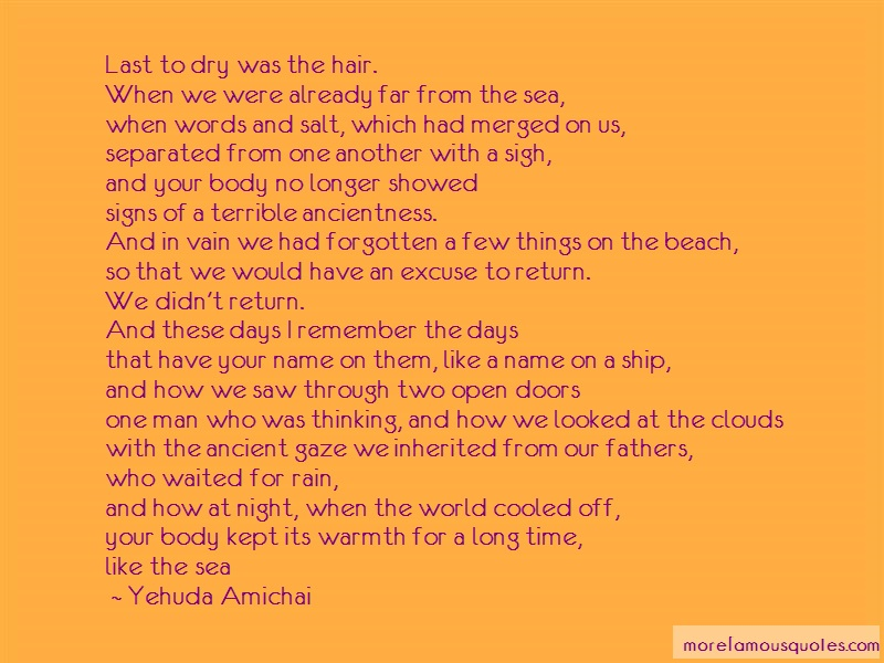 Yehuda Amichai Quotes: Last to dry was the hair when we were