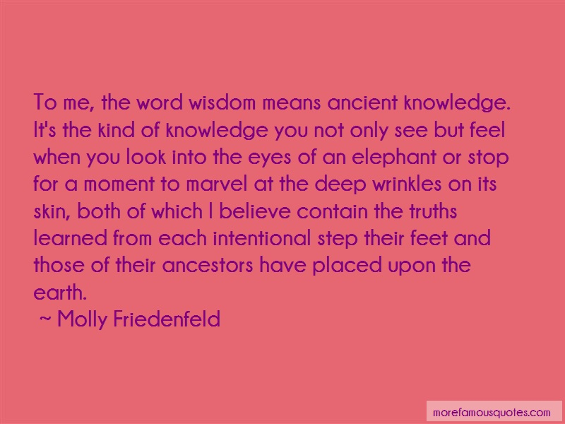 Molly Friedenfeld Quotes: To Me The Word Wisdom Means Ancient