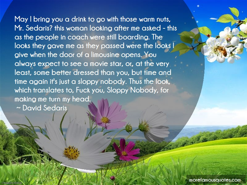 David Sedaris Quotes: May i bring you a drink to go with those