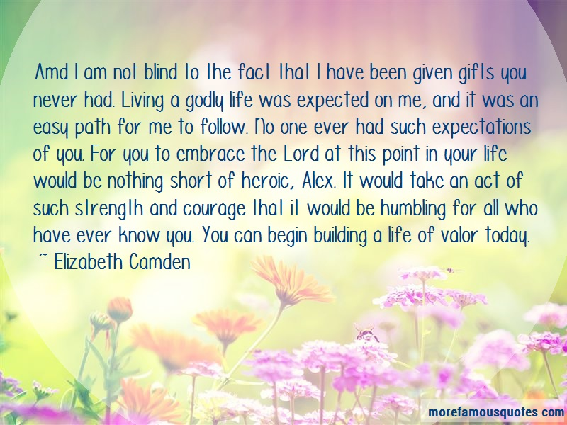 Elizabeth Camden Quotes: Amd I Am Not Blind To The Fact That I