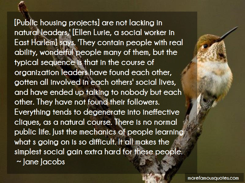Jane Jacobs Quotes: Public housing projects are not lacking