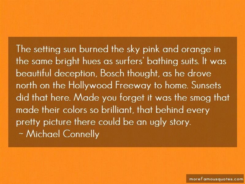Michael Connelly Quotes: The setting sun burned the sky pink and