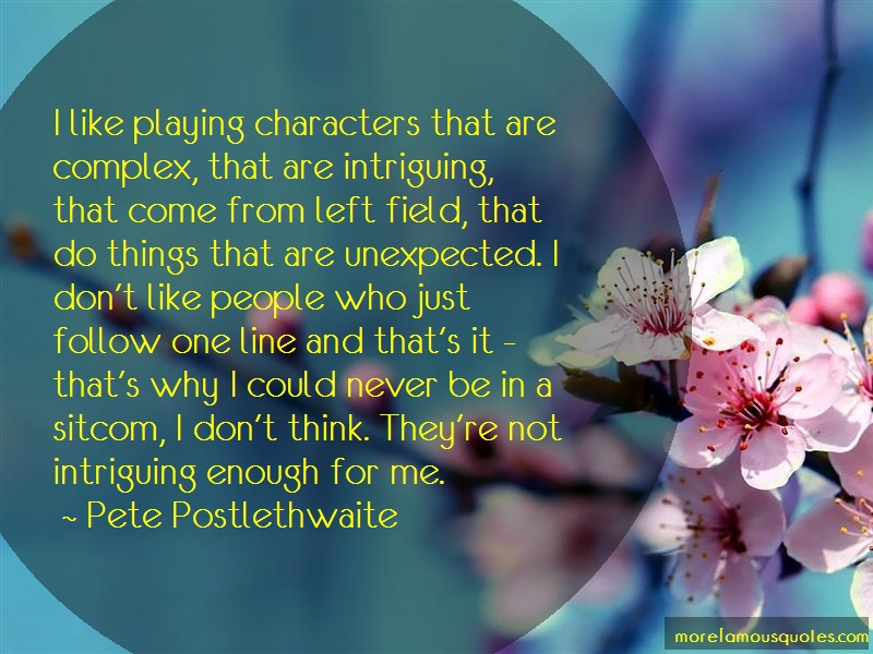 Pete Postlethwaite Quotes: I like playing characters that are