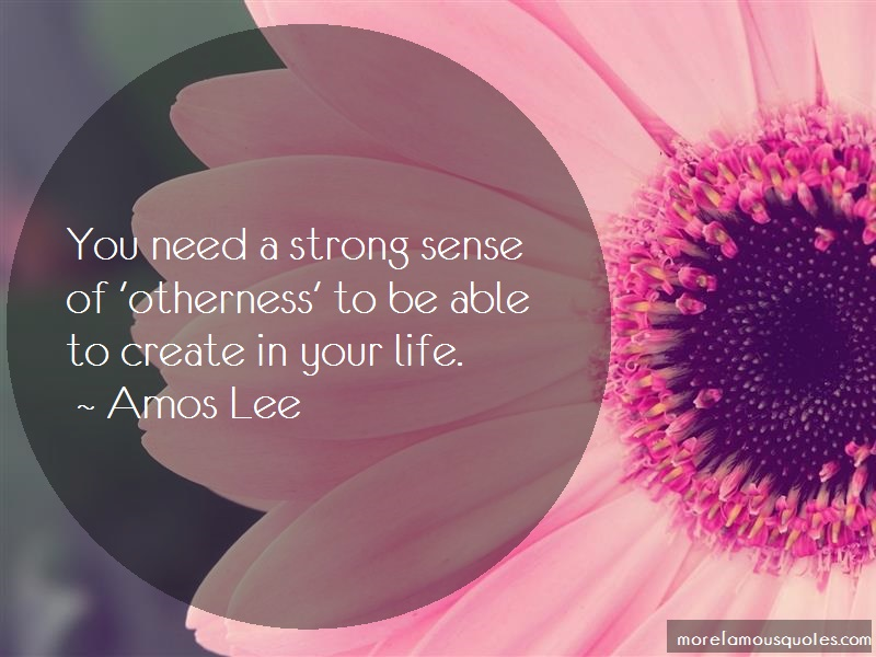 Amos Lee Quotes: You need a strong sense of otherness to