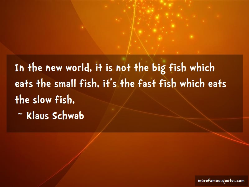Klaus Schwab Quotes: In the new world it is not the big fish