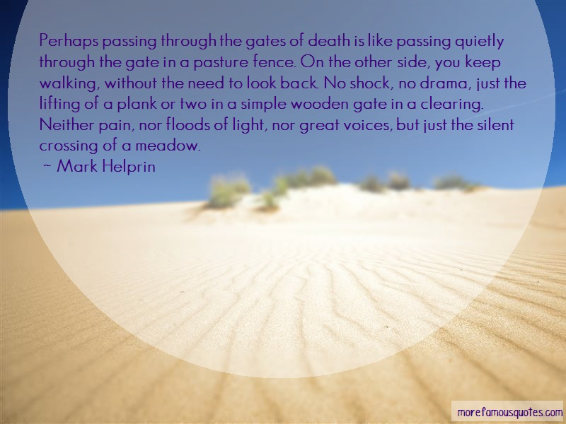 Mark Helprin Quotes: Perhaps passing through the gates of
