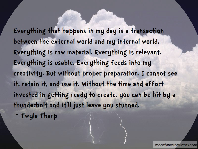 Twyla Tharp Quotes: Everything that happens in my day is a