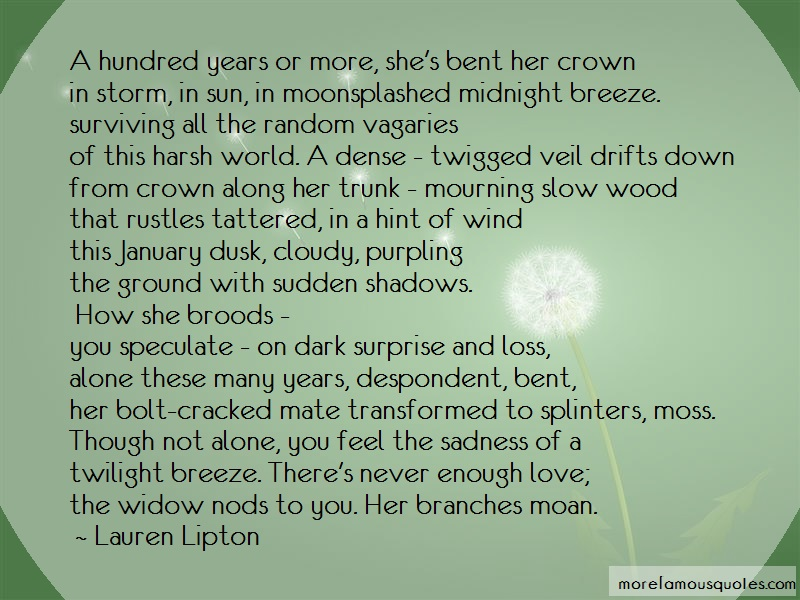 Lauren Lipton Quotes: A hundred years or more shes bent her