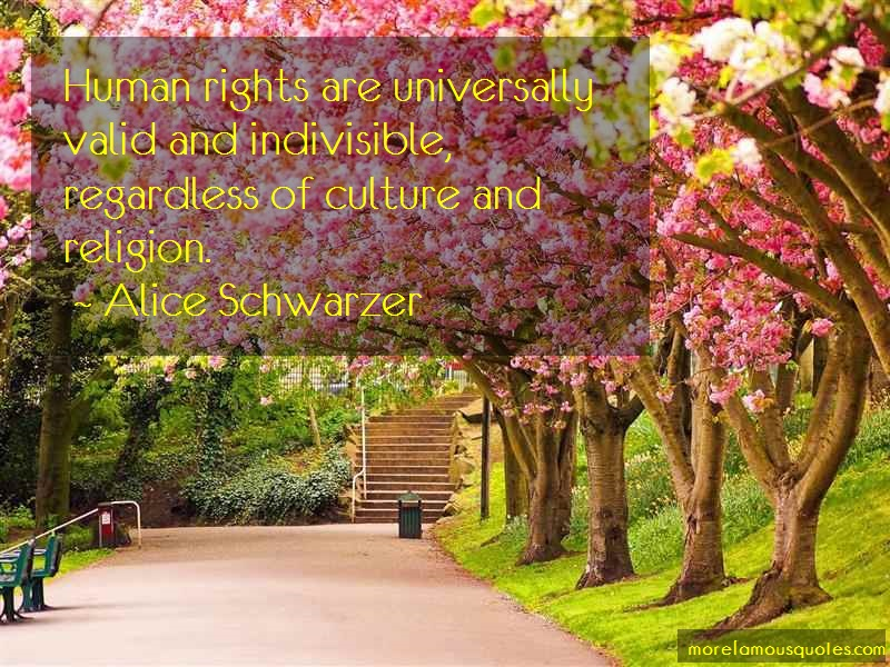 Alice Schwarzer Quotes: Human rights are universally valid and