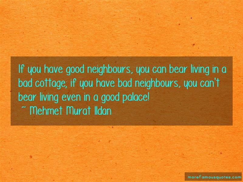 Mehmet Murat Ildan Quotes: If You Have Good Neighbours You Can Bear