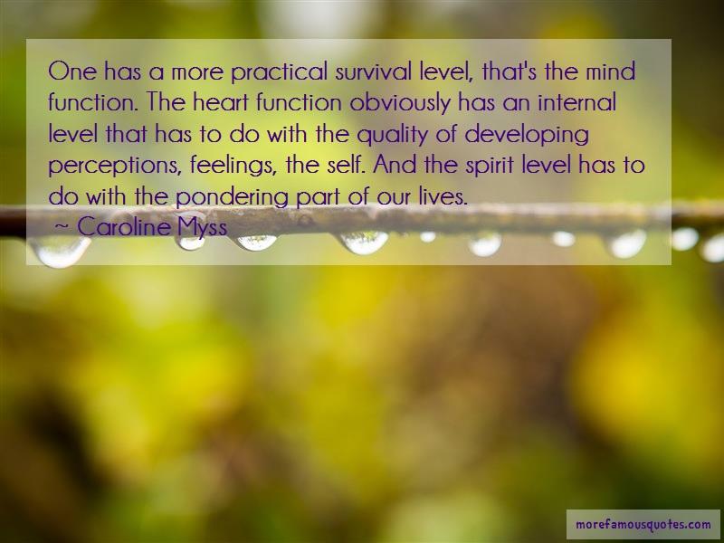 Caroline Myss Quotes: One Has A More Practical Survival Level