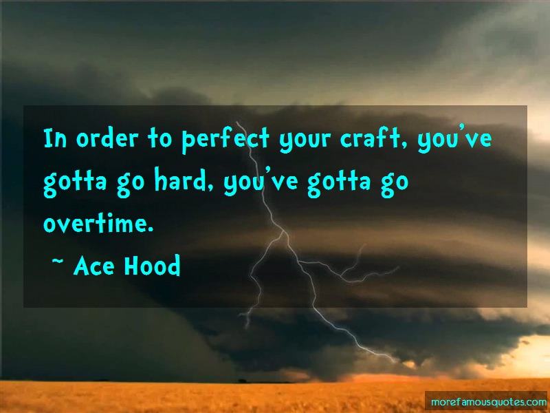 Ace Hood Quotes: In order to perfect your craft youve