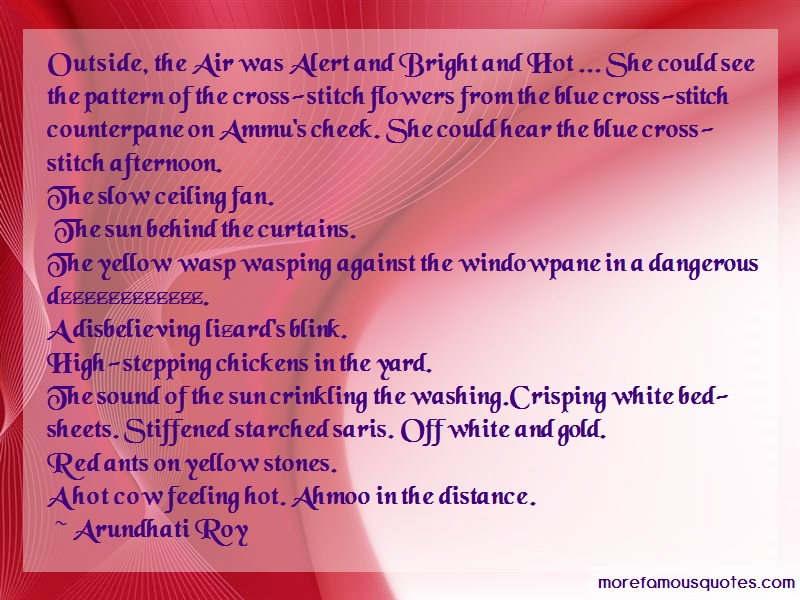Arundhati Roy Quotes: Outside The Air Was Alert And Bright And