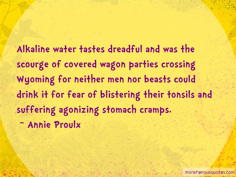 Annie Proulx Quotes: Alkaline water tastes dreadful and was