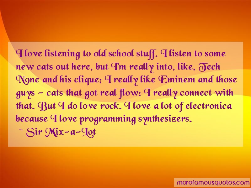 Sir Mix-a-Lot Quotes: I love listening to old school stuff i