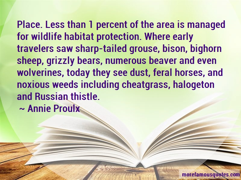 Annie Proulx Quotes: Place Less Than 1 Percent Of The Area Is