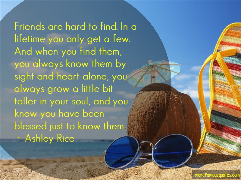 Ashley Rice Quotes: Friends are hard to find in a lifetime