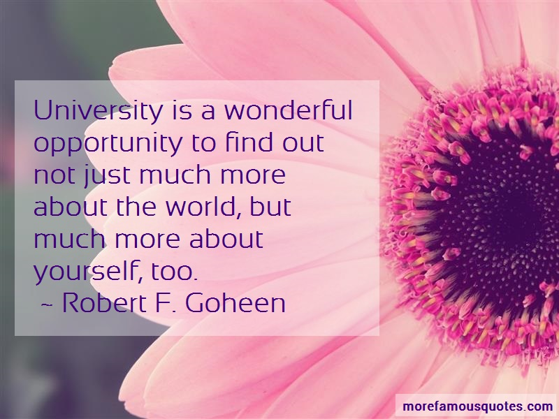 Robert F. Goheen Quotes: University Is A Wonderful Opportunity To