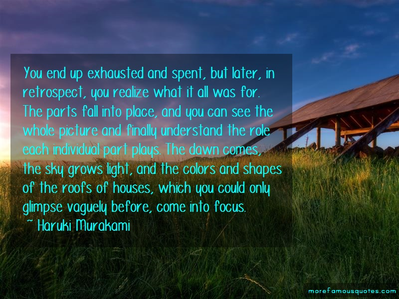 Haruki Murakami Quotes: You End Up Exhausted And Spent But Later