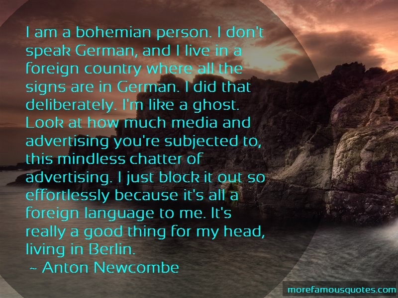 Anton Newcombe Quotes: I am a bohemian person i dont speak