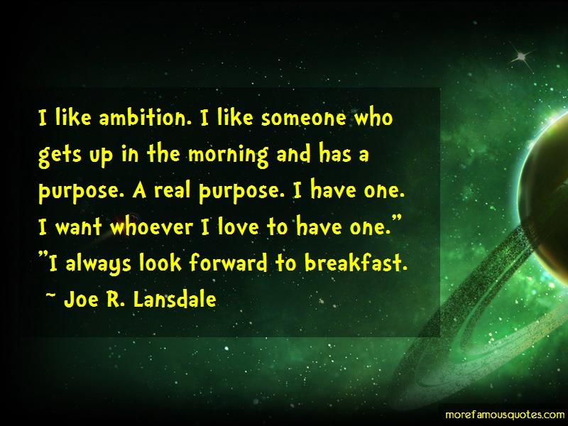 Joe R. Lansdale Quotes: I Like Ambition I Like Someone Who Gets