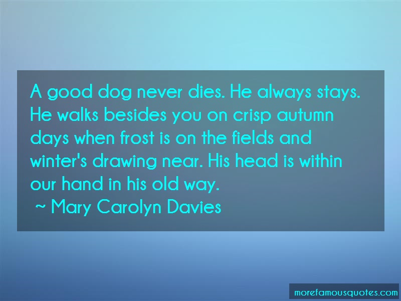 Mary Carolyn Davies Quotes: A Good Dog Never Dies He Always Stays He