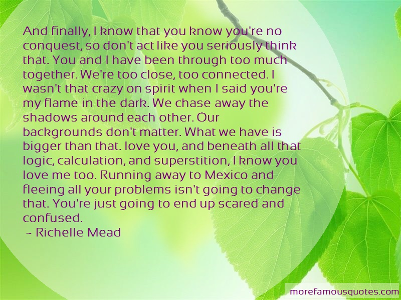 Richelle Mead Quotes: And finally i know that you know youre