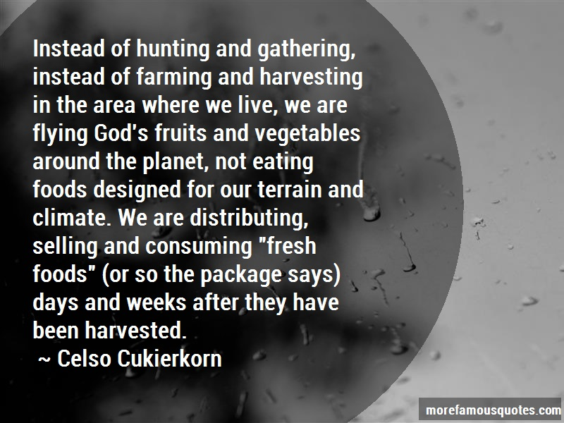 Celso Cukierkorn Quotes: Instead Of Hunting And Gathering Instead