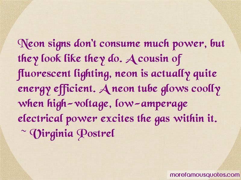 Virginia Postrel Quotes: Neon Signs Dont Consume Much Power But