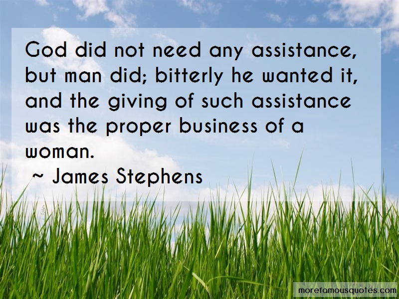 James Stephens Quotes: God did not need any assistance but man