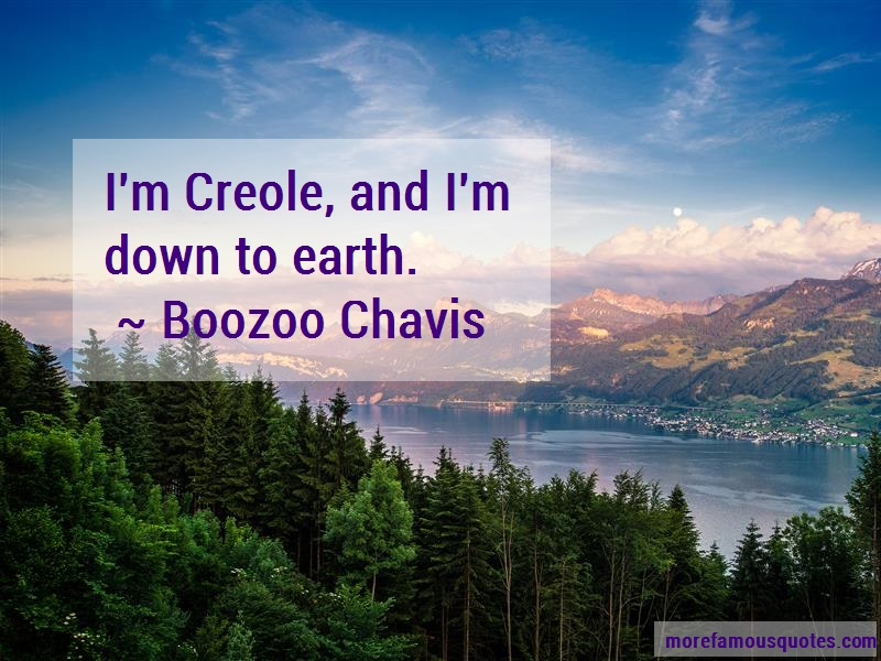 Boozoo Chavis Quotes: Im creole and im down to earth
