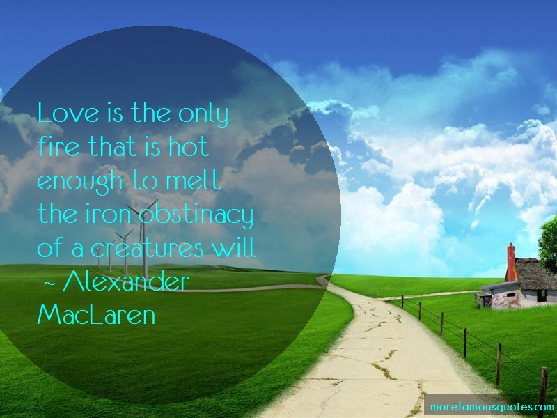 Alexander MacLaren Quotes: Love is the only fire that is hot enough
