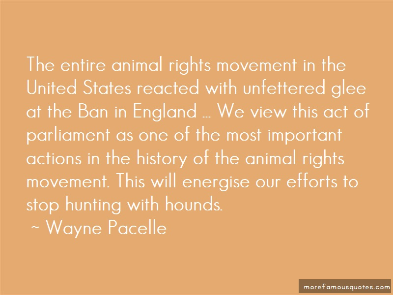 Wayne Pacelle Quotes: The entire animal rights movement in the