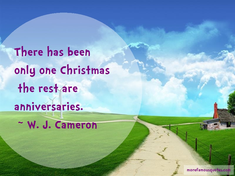 W.J. Cameron Quotes: There has been only one christmas the