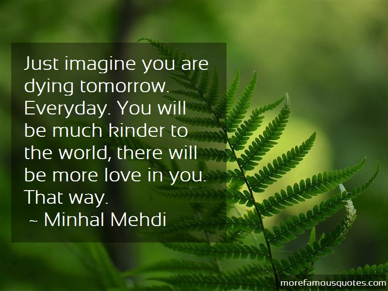 Minhal Mehdi Quotes: Just Imagine You Are Dying Tomorrow