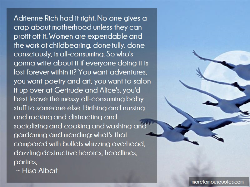Elisa Albert Quotes: Adrienne rich had it right no one gives